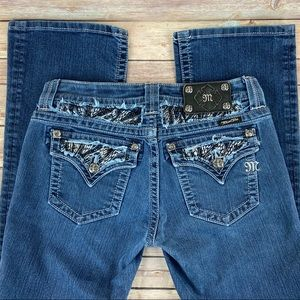 Miss Me Denim Zebra Glitz Easy Boot Curvy Jeans